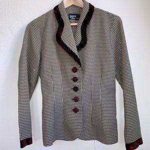 Vintage Houndstooth Velour Blazer